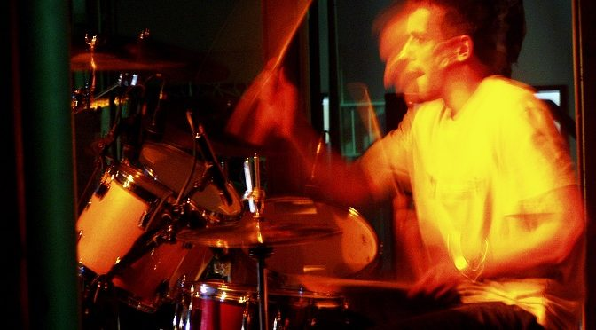 A drummer in action