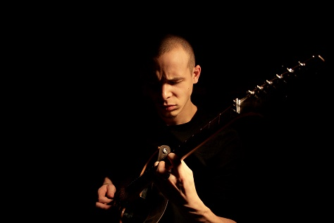 A guitarist in action